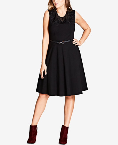 City Chic Trendy Plus Size Embroidered Illusion Belted Fit & Flare Dress