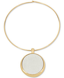 Robert Lee Morris Soho Two-Tone Large Circle Pendant Necklace