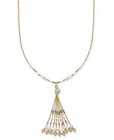 I.N.C. Gold-Tone Multi-Bead & Tassel Pendant Necklace, Created for Macy's