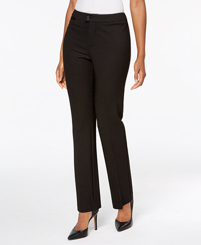 Charter Club Petite Windowpane-Print Straight-Leg Pants, Created for Macy's