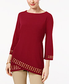 JM Collection Stud-Trim Top, Created for Macy's