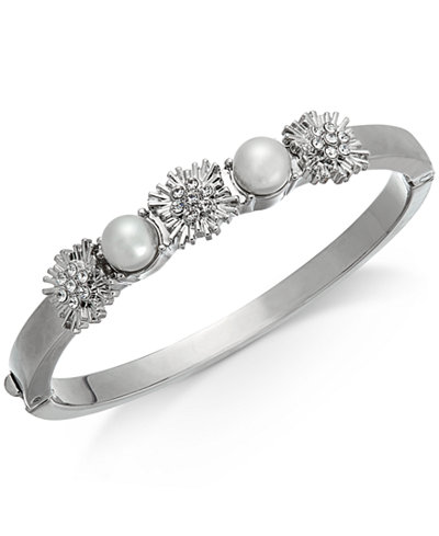 Charter Club Silver-Tone Pavé & Imitation Pearl Hinged Bangle Bracelet, Created for Macy's