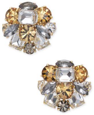 Gold-Tone Multi-Stone Cluster Stud Earrings