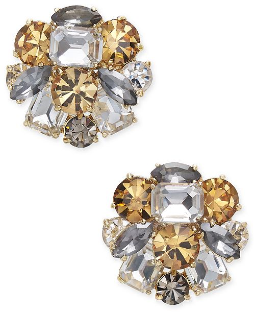 55c525a983d98 kate spade new york Gold-Tone Multi-Stone Cluster Stud Earrings ...