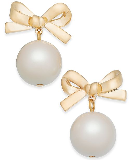 69b99cef3 Kate Spade New York 14k Gold Plated Imitation Pearl Bow Drop
