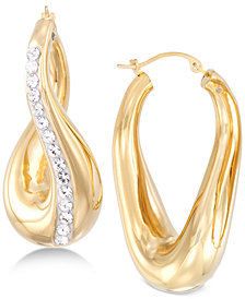 Signature Gold Swarovski Crystal Hoop Earrings in 14k Gold over Resin, Created for Macy's