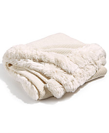 Hotel Collection Fur Knit Trim Throw, Created for Macy's