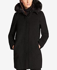 DKNY Faux-Fur-Trim Walker Coat with Vest