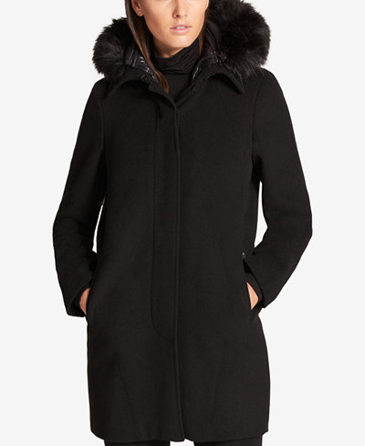 DKNY Faux-Fur-Trim Walker Coat with Vest - Coats - Women - Macy's