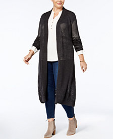 Belldini Plus Size Pointelle-Stitch Duster Cardigan
