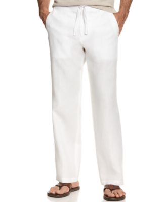 Image of Tasso Elba Men's 100% Linen Drawstring Pants, Only at Macy's