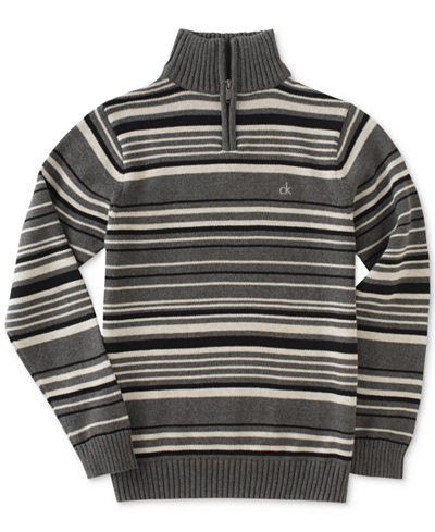 Calvin Klein Focal Stripe Quarter-Zip Cotton Sweater, Big Boys