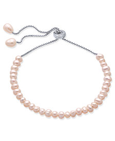 Blush Cultured Freshwater Pearl (4mm) Bolo Bracelet in Sterling Silver