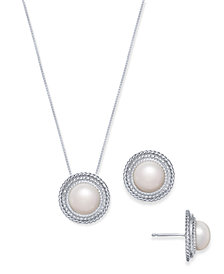 Cultured Freshwater Mabé Pearl (9mm) Jewelry Set in Sterling Silver