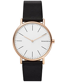 Skagen Unisex Signatur Black Leather Strap Watch 40mm