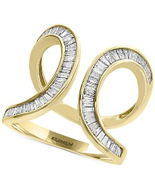 D'Oro by EFFY® Diamond Baguette Swirl Ring (3/4 ct. t.w.) in 14k Gold