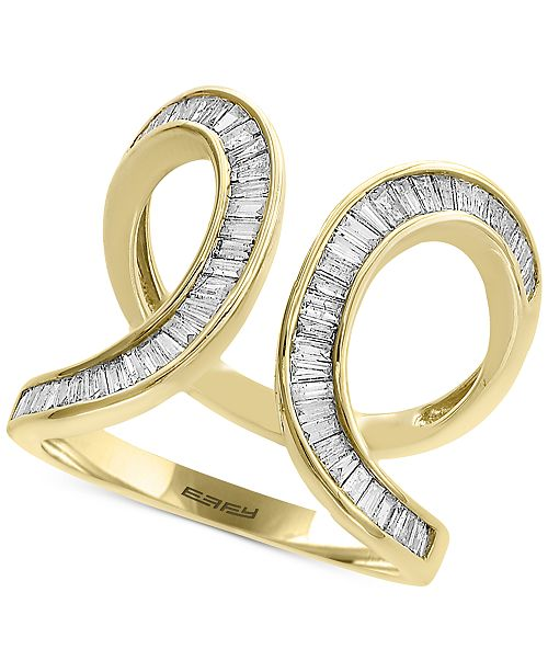 EFFY Collection D'Oro by EFFY® Diamond Baguette Swirl Ring (3/4 ct. t.w.) in 14k Gold