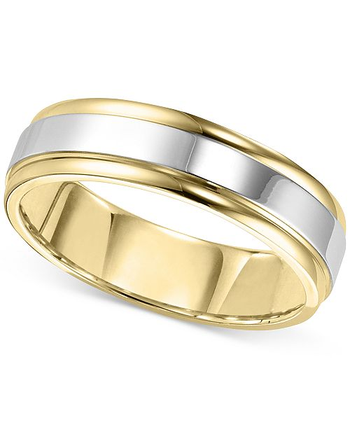 Macy's Men's Two-Tone Polished Band in 14k Gold & White Gold