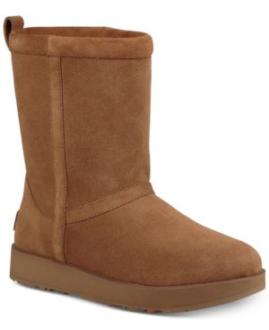 WOMEN'S CLASSIC SHORT WATERPROOF SUEDE & SHEEPSKIN BOOTIES