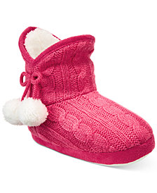 Stride Rite Charlotte Cable Cozy Boot Slippers with Faux-Fur Trim, Baby Girls & Toddler Girls