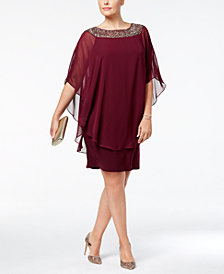 Xscape Plus Size Beaded Chiffon Capelet Dress