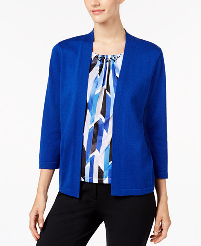 Alfred Dunner High Roller Petite Studded Layered Look Top