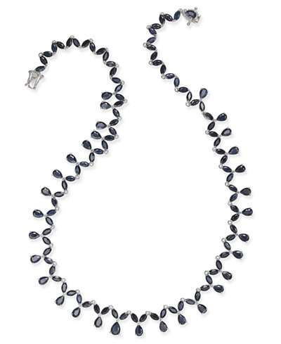 Black Sapphire (42 ct. t.w.) & White Topaz (1/10 ct. t.w.) Statement Necklace in Sterling Silver