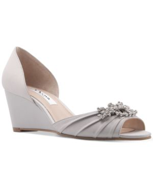 Emiko Embellished Evening Wedges Women'S Shoes in Silver Satin