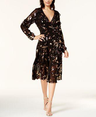 RACHEL Rachel Roy Printed Mesh Wrap Dress