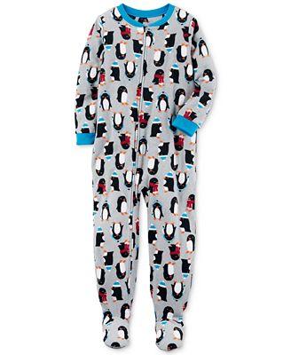 Carter's 1-Pc. Penguin-Print Footed Pajamas, Little Boys & Big ...