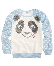 Evy of California Panda Fuzzy Plush Sweatshirt, Little Girls