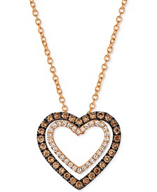 Chocolatier® Diamond Heart Pendant Necklace (1/3 ct. t.w.) in 14k Rose Gold
