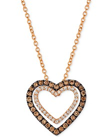 Le Vian Chocolatier® Diamond Heart Pendant Necklace (1/3 ct. t.w.) in 14k Rose Gold