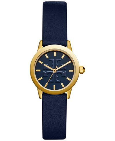 Tory Burch Women's Gigi Navy Leather Strap Watch 28mm