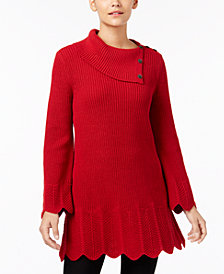 Style & Co Scallop-Hem Tunic Sweater, Created for Macy's