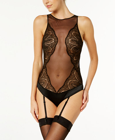Calvin Klein CK Black Audacious Embroidered-Mesh Satin Bodysuit QF4000