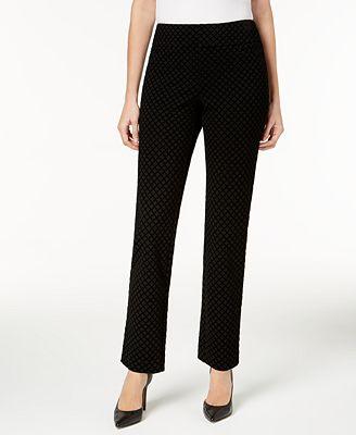 Charter Club Flocked Pattern Ponté Slim-Leg Pants, Only at Macy's