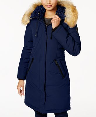 Vince Camuto Faux-Fur-Trim Hooded Down Parka - Coats - Women - Macy's