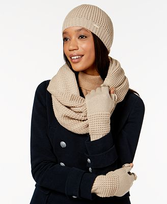 Calvin Klein 3-Pc. Waffle-Knit Hat, Gloves & Infinity Scarf Set