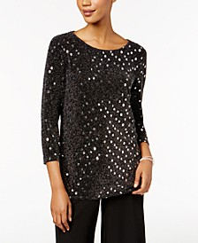 Sequined Metallic Tulip-Back Top