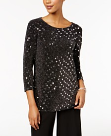 MSK Petite Metallic-Dot Top