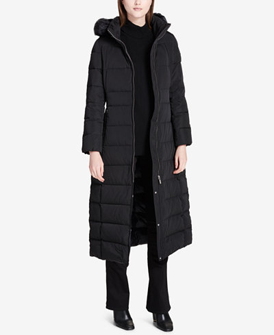 Calvin Klein Faux-Fur-Trimmed Hooded Maxi Puffer Coat