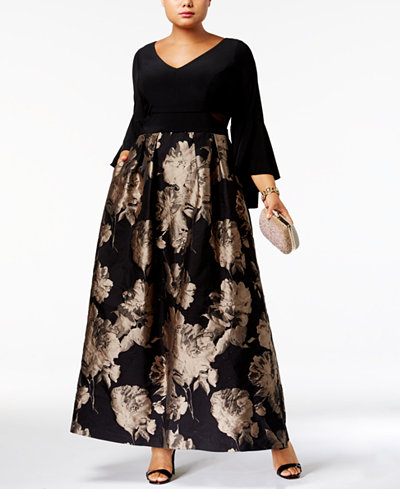 Xscape Plus Size Brocade Bell-Sleeve Gown
