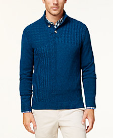Club Room Men's Patchwork Mock Neck Sweater, Created for Macy's
