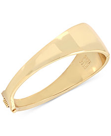 Robert Lee Morris Soho Gold-Tone Sculptural Hinged Bangle Bracelet