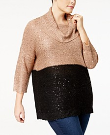 Plus Size Sequined Cowl-Neck Sweater