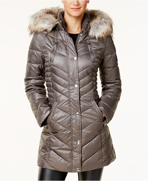 3699396a479f6 ... Laundry by Shelli Segal Faux Sherpa Hooded Cinched Waist Puffer Coat ...