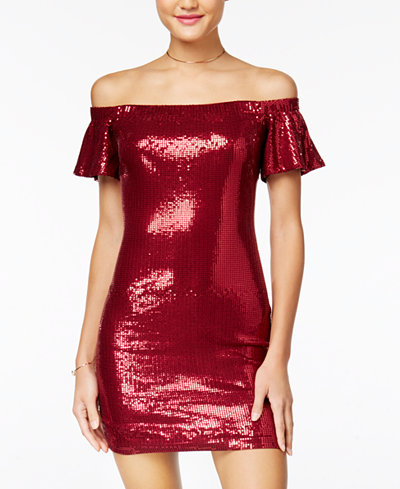 As U Wish Juniors' Sequined Off-The-Shoulder Bodycon Dress