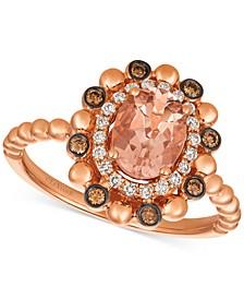 ® Peach & Nude™ Peach Morganite™ (7/8 ct. t.w.) & Diamond (1/4 ct. t.w.) Ring in 14k Rose Gold