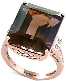 Sienna by EFFY® Smoky Quartz (16-9/10 ct. t.w.) & Diamond (1/5 ct. t.w.) Ring in 14k Rose Gold
